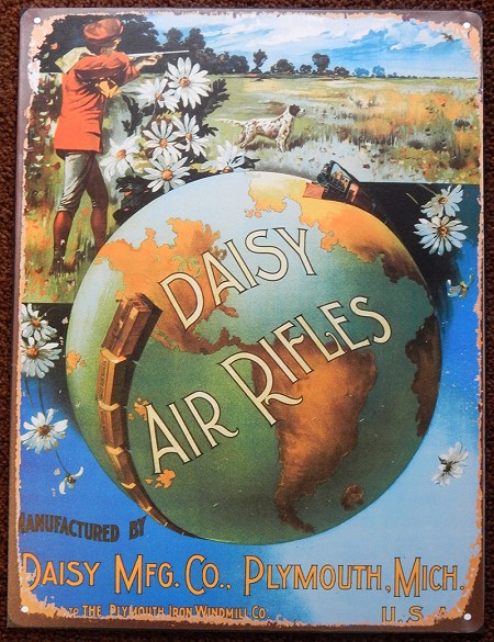 Daisy Air Rifle with train around globe sign